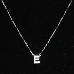 Jewelry - Silver Style Sterling Polished Initial Pendant E
